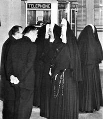 Sisters of Charity of the BVM visit the Immaculate Heart Campus for a workshop for area Sodality Moderators in 1963 Los Angeles, CA
