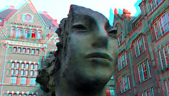 Fountain Two Immovable Heads by Mark Manders Rokin Amsterdam 3D