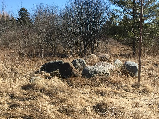 Nice pile of rocks on Lands North West of Simcoe Point Pioneer Cemetery near Rotary park Ajax Ontario Canada , it almost felt like spring March 26  2019