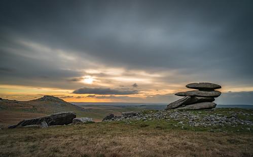 tor showerytor roughtor bodminmoor cornwall england sunset landscape clouds longexposure
