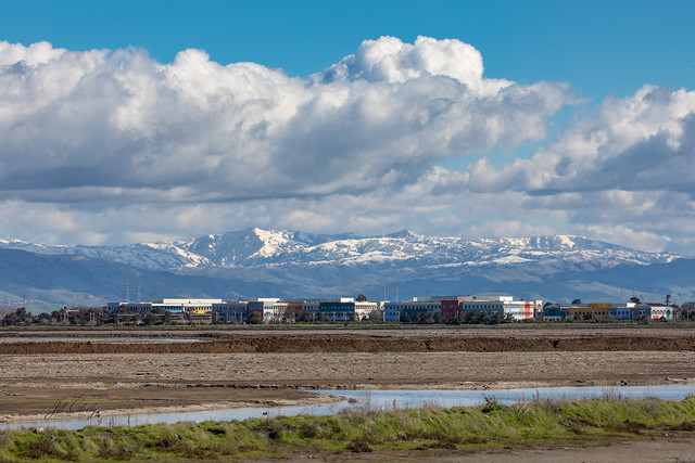 A  Rare Sight - Snow on the Foothills - Facebook Headquarters in the Foreground