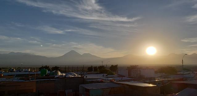 Sunrise at at 2,407 meters (7,896.98 ft), the Hostal Sumaj Jallpa, Tierra Buena, San Pedro de Atacama, the Purico Complex, the Atacama desert, Antofagasta, Chile.