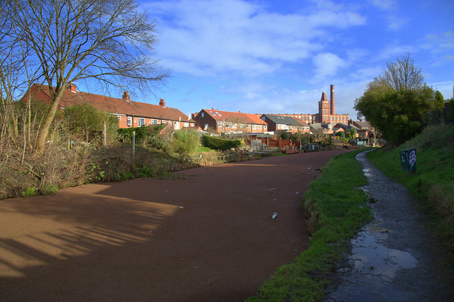 The green canal at Preston is now brown