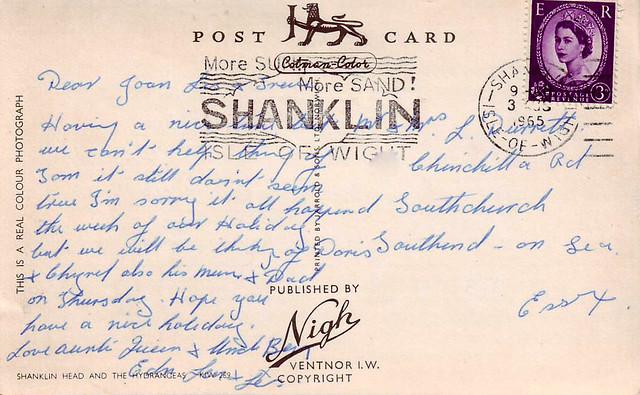 Postcard Shanklin Head, Isle of Wight 1965 R