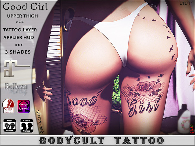BodyCult Tattoo Good Girl Leg Upper Thigh L1041