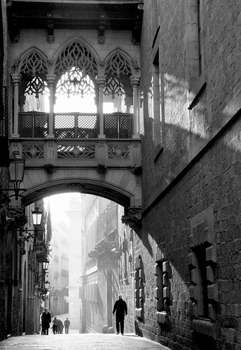 people monochrome bridge light barcelona blackandwhite sunrise buildings catalunya spain mono street architecture city urban bw