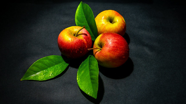 apples with foliage