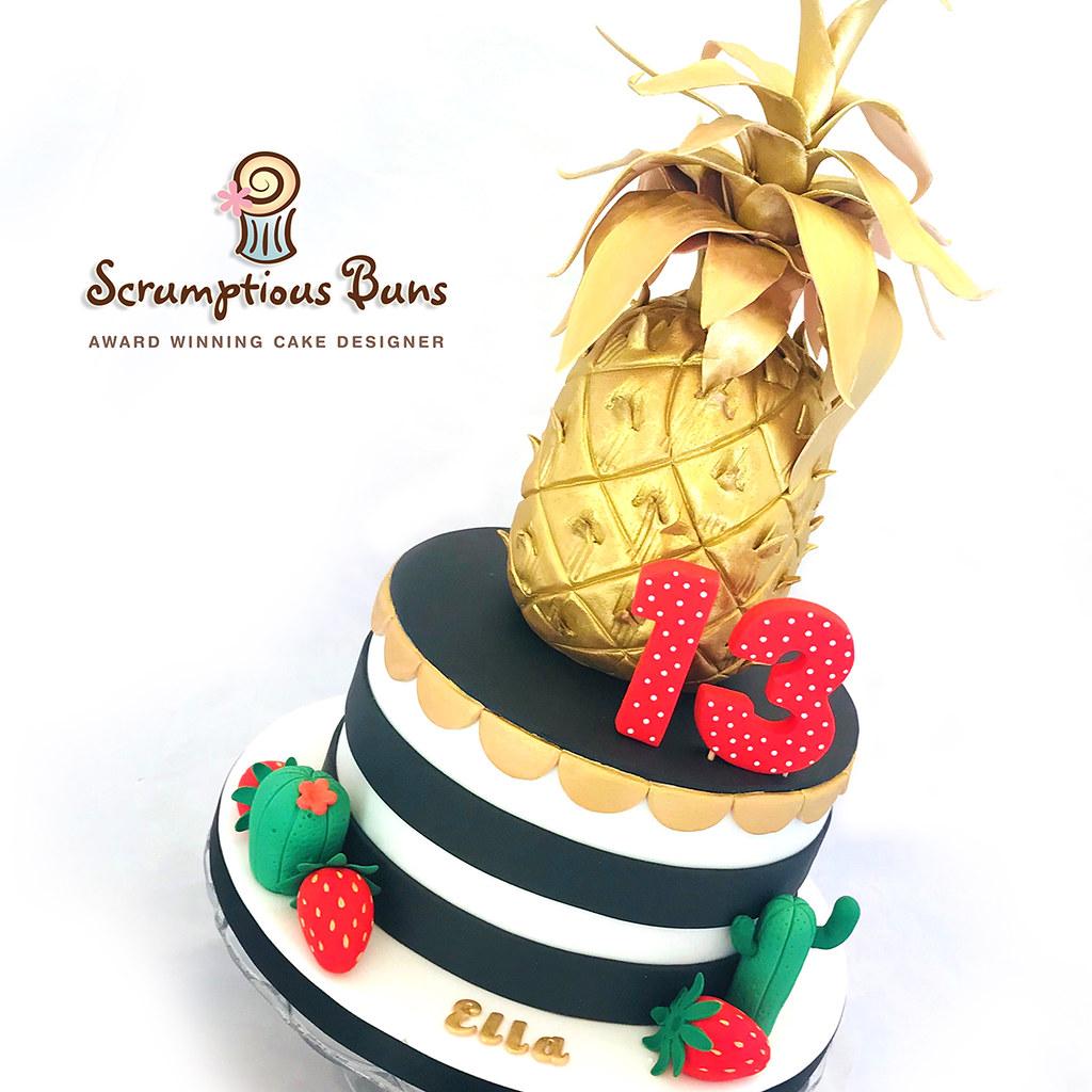 Phenomenal Teenagers Golden Pineapple Birthday Cake My Daughters 13T Flickr Personalised Birthday Cards Akebfashionlily Jamesorg