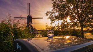 Sunset, reflections and lensball at Kinderdijk | by NerG Photography