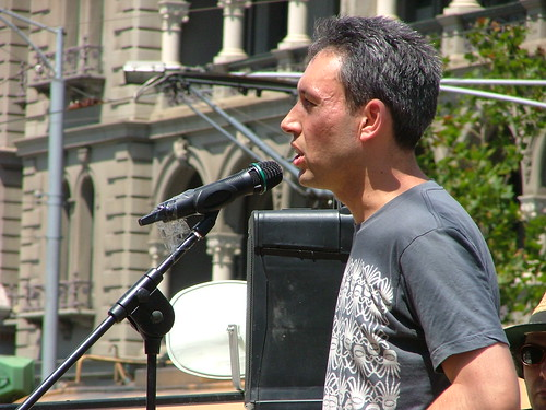 Daniel at protest rally at Parliament 3/2/2009