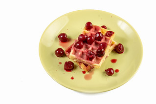 Cherry Compote served with Waffles on the plate | by wuestenigel