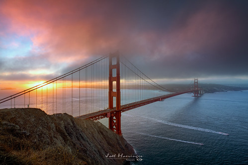 sanfrancisco goldengatebridge bridge clouds fog mist california sunrise sunshine fuji xt2