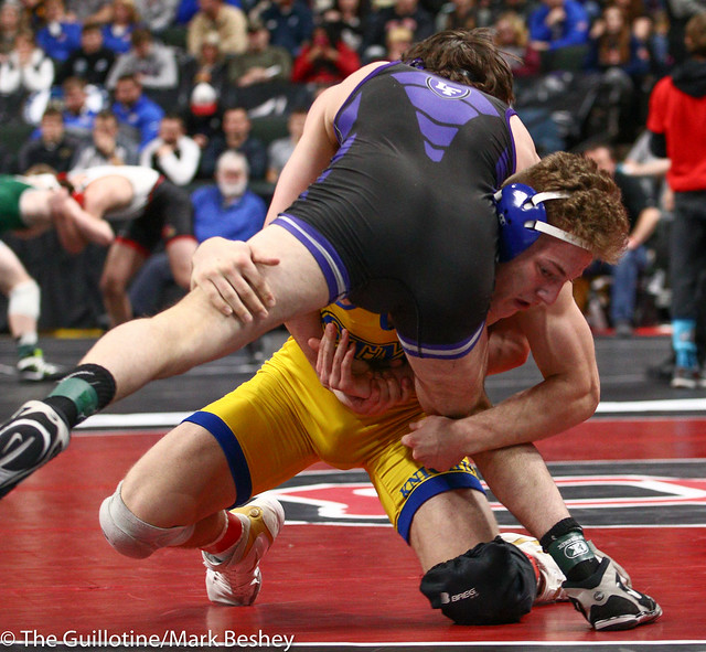 160 - Semifinal - Gabe Nagel (Little Falls) 45-0 won by decision over Wyatt Lidberg (St Michael-Albertville) 44-6 (Dec 2-1) - 190302amk0125