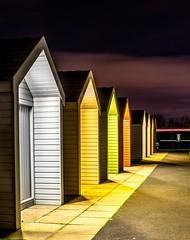 Beach huts at The Kelpies