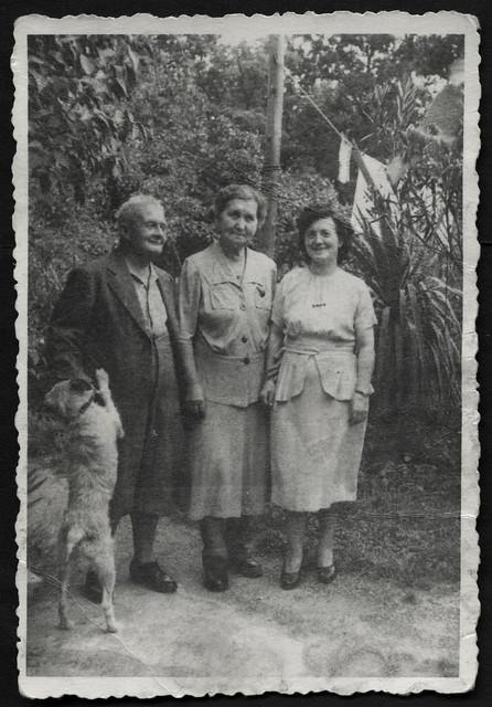 Archiv S489 Im Garten mit Hund, 1950er