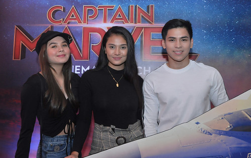 GMA Artists Ashley Ortega, Klea Pineda, and Joaquin Manansala attending Watsons Card's Exclusive Captain Marvel Screening | by annalyn