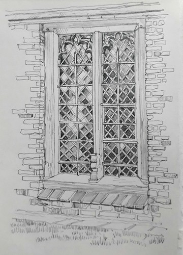 A re-used window at the Merchant Adventurers Hall, York
