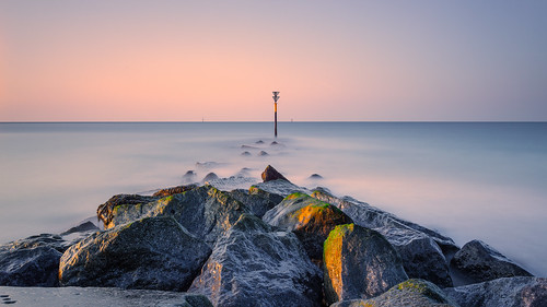 hayling island leefilters longexposure rocks sand sky smooth surf water