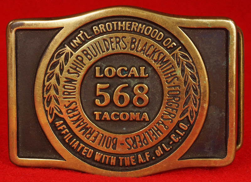 RD17136 1980 Boilermakers Iron Ship Builders Blacksmiths Forgers & Helpers Local 568 Tacoma Brass Belt Buckle Anacortes DSC09429
