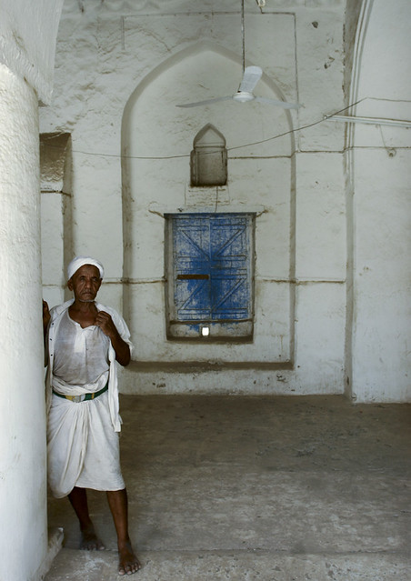 Old Man Leaning Against The Wall In The Mosque, Zabid, Yemen