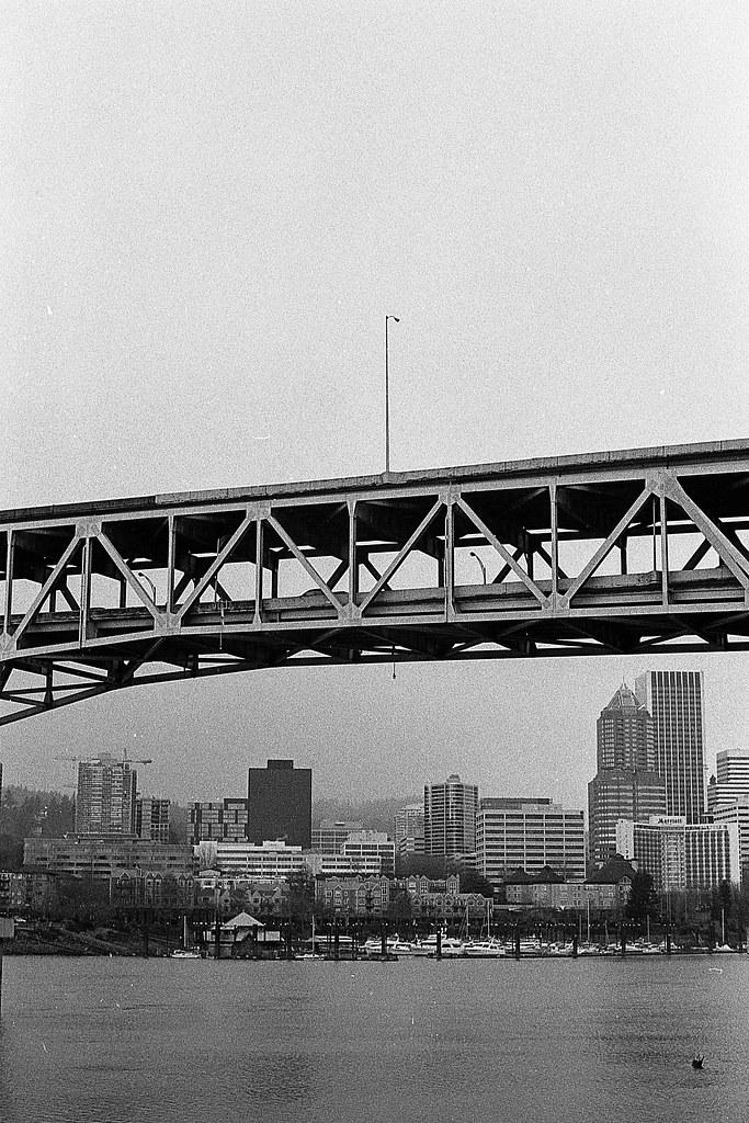 Marquam bridge in Portland, taken from OMSI