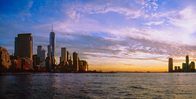 Lower Manhattan to Jersey City January Sky