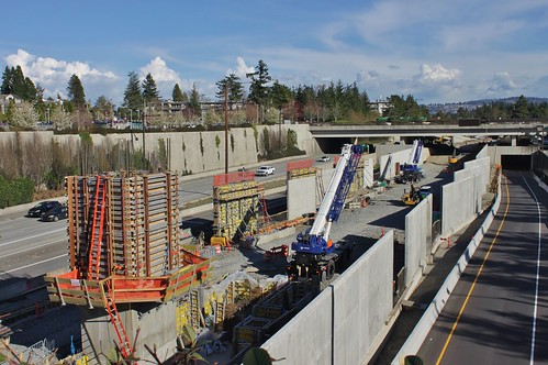 Mercer Island station under construction, March 2018