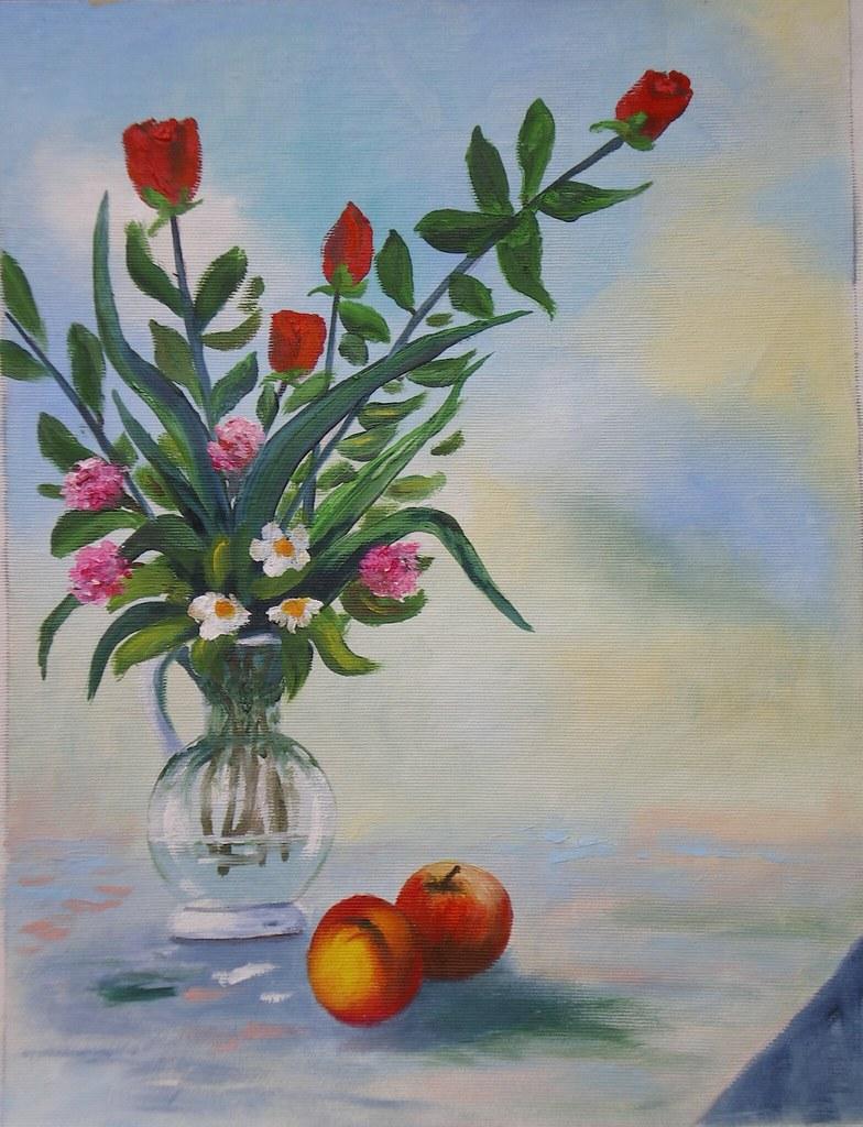 Con Fiori.Vaso Di Fiori Con Frutta Dipinto A Olio Su Tela 30 X 40 Flickr