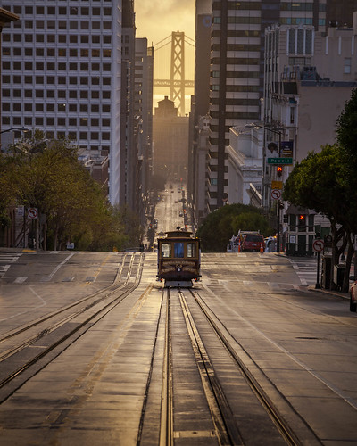 city streetphotography street transportation train urban cityscape sanfrancisco canon5dmkii sunrise architecture