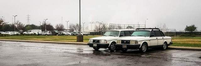 Sibling Volvos Waiting in the Rain