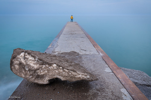 Remnant of the Ashbridges Glacier and yours truly on a Balmy Beach jetty - Toronto | by Phil Marion (176 million views - THANKS)