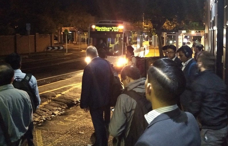 Bus 703 being used by people avoiding the Frankston line closure