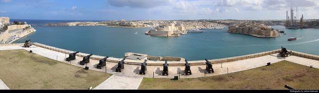 Panoramic view from Upper Barrakka Gardens, Valletta, Malta