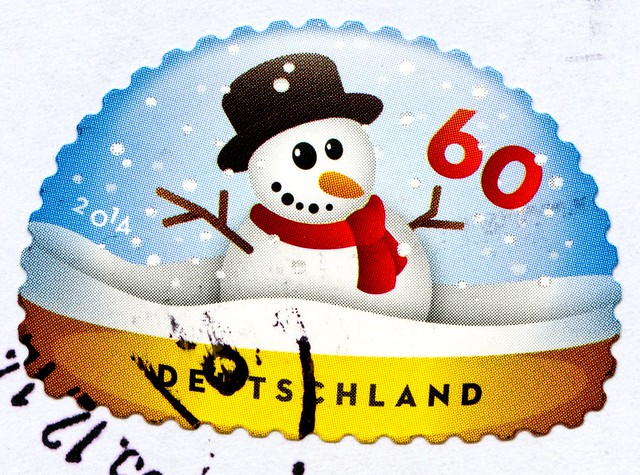 great xmas stamp Germany 60c (snowman, Schneemann, pupazzo di neve, bonhomme de neige, snögubbe, snømann, snemand, hóember, muñeco de nieve 雪人, снегови́к , lumiukko, boneco de neve, bałwan, om de zapada) noel timbres Allemagne  우표 독일 유럽 sellos Alemania na