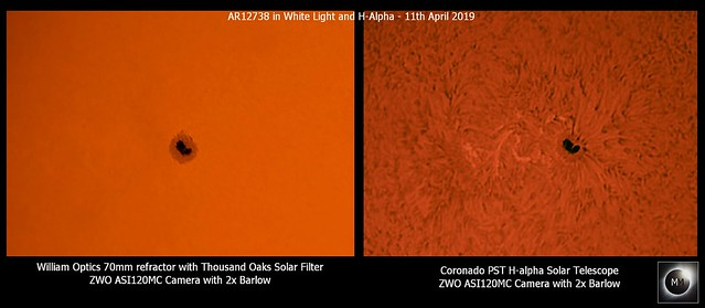 AR12738 in White Light and H-alpha - 11/04/19