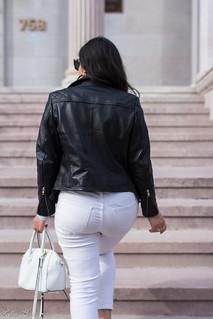 black leather jacket, white jeans, grey tee, suede slingback heels-14.jpg   by LyddieGal