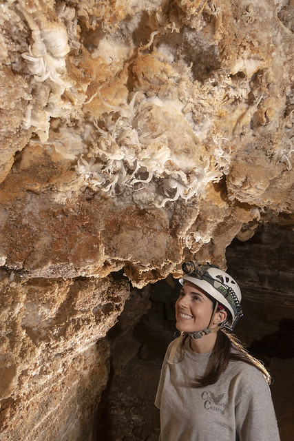 Brittany Fults, gypsum flowers, Cumberland Caverns, Warren County, Tennessee