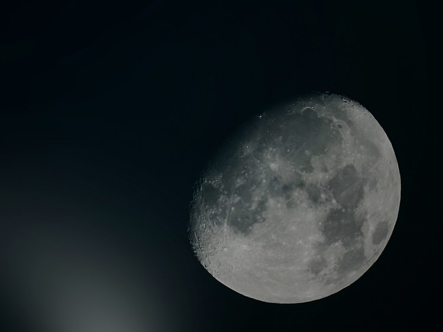 Moon in the Night with running clouds. JPEG - 1.6x Converter - 1900 mm