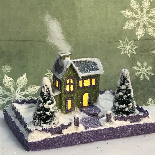 Green and grey tiny mini Putz house