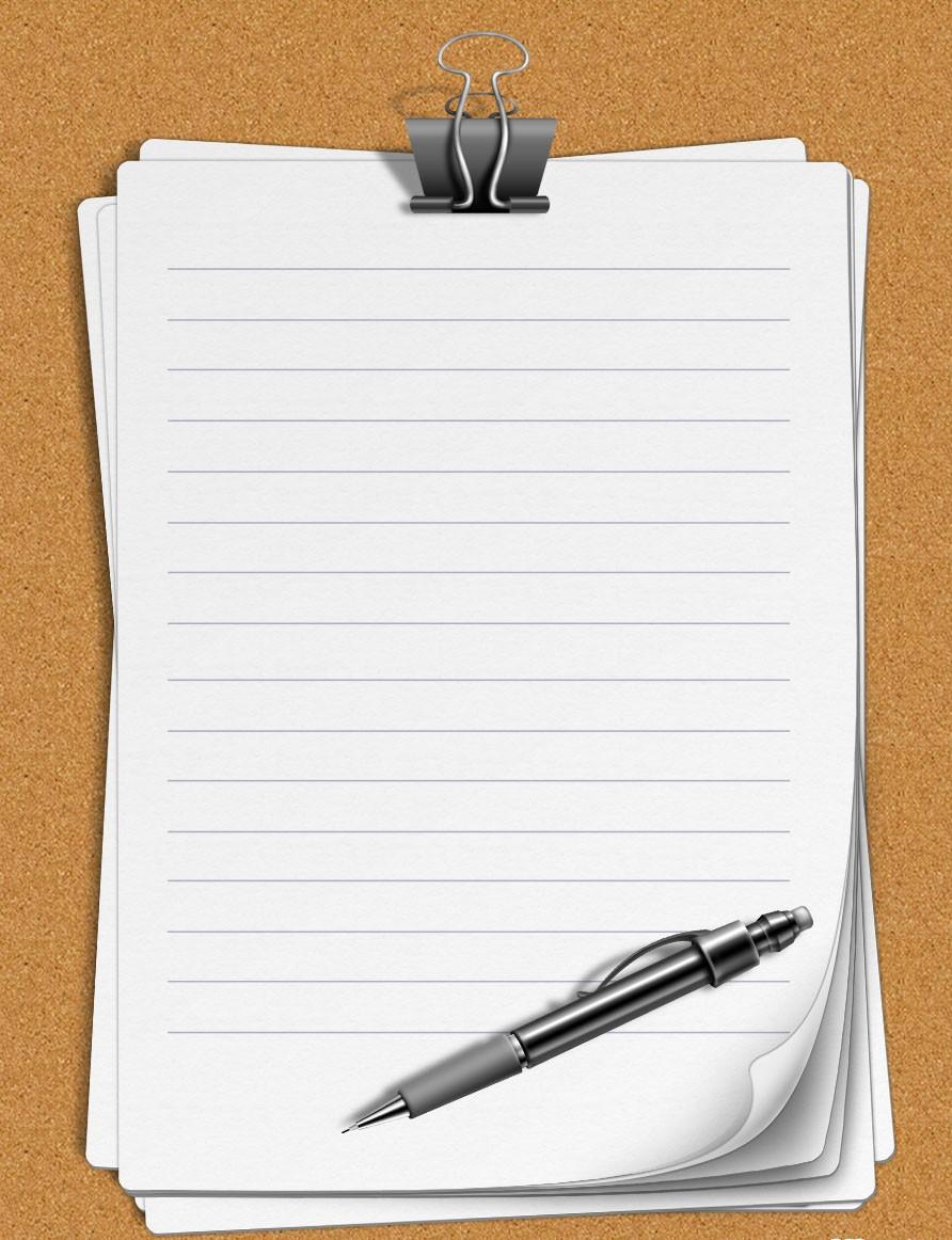 Листы бумаги с держателем для Фотошоп в PSD формате