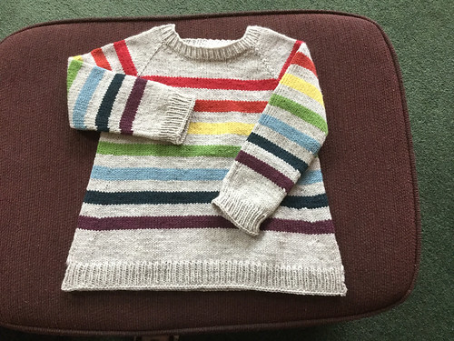 Debbie knit this striped sweater for her granddaughter