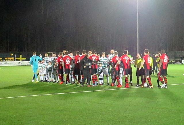 Teams Shake Hands, Irn Bru Cup Semi-final, Park Hall Stadium, Oswestry, Feb 2018