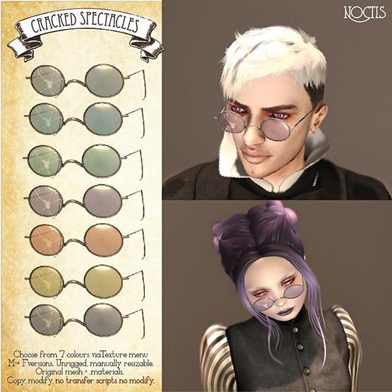 noctis] Cracked 1930s glasses | marketplace secondlife com