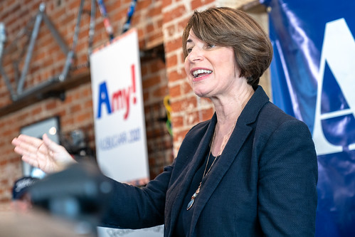 Senator Amy Klobuchar speaking at Shift Cyclery and Coffee Bar, the first stop on her campaign trail, in Eau Claire, Wisconsin | by Lorie Shaull