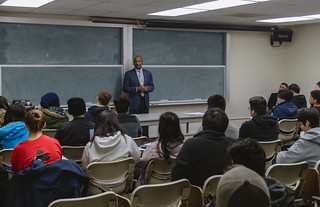 "Chancellor Gary May visits Professor Ricardo Castro's ""Science of Superheroes"" class 
