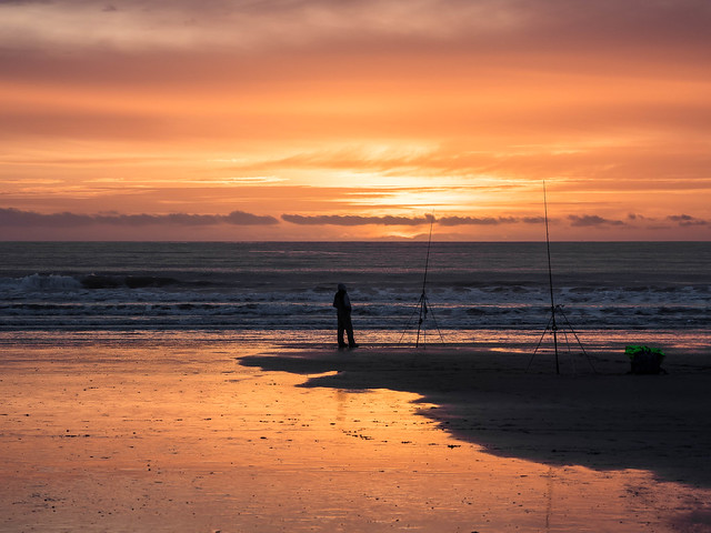 Fisherman and a Glorious Sunset at Newgale.