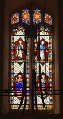 west window: four Evangelists (1860s, attributed Ann Owen - actually William Wailes?)