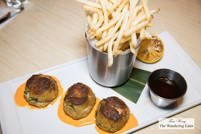 Lump crab cakes, red pepper aioli, french fries