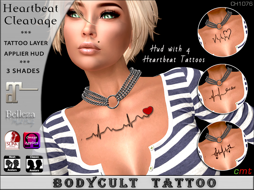 BodyCult Tattoo Heartbeat Cleavage 4er Bundle CH1075 - TeleportHub.com Live!