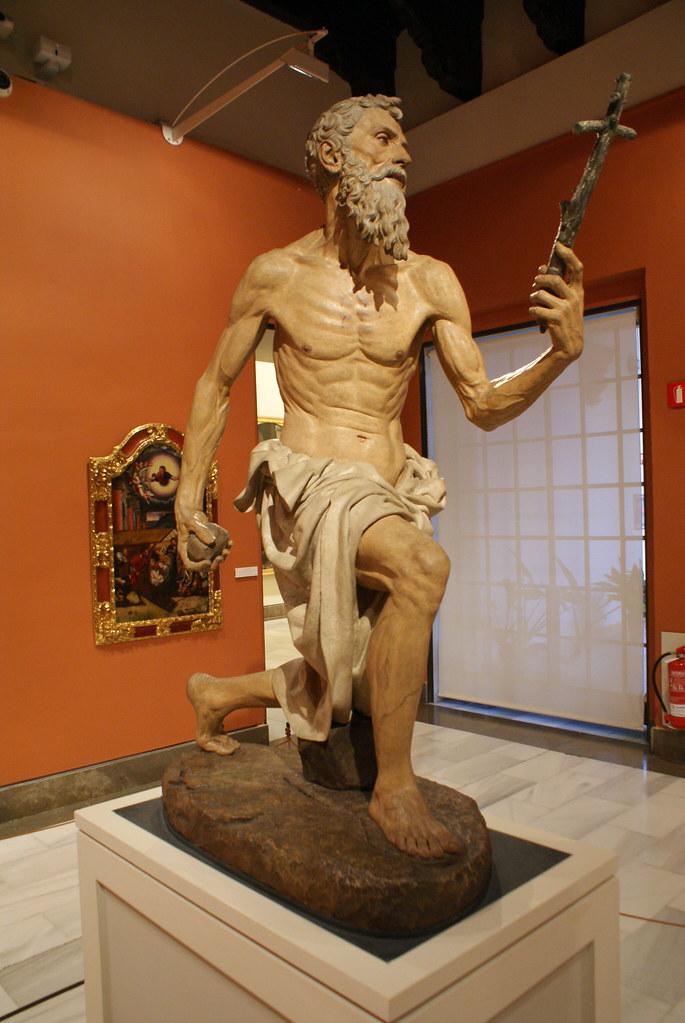 """""""Saint Jérémie Pénitent"""" (1525) Sculpture de Pietro Torrigiano au Musée des Beaux Arts de Séville."""